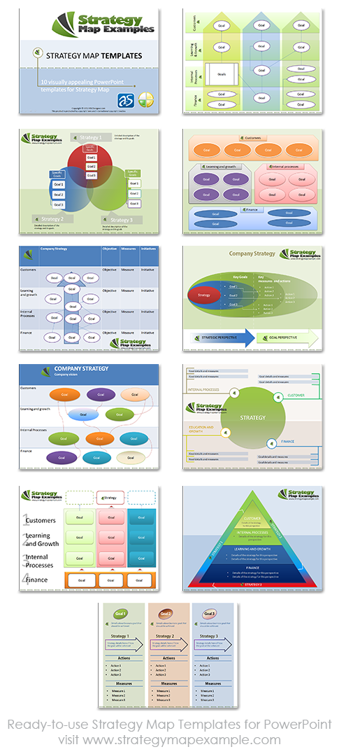 Ready-to-use Strategy Map Templates for PowerPoint